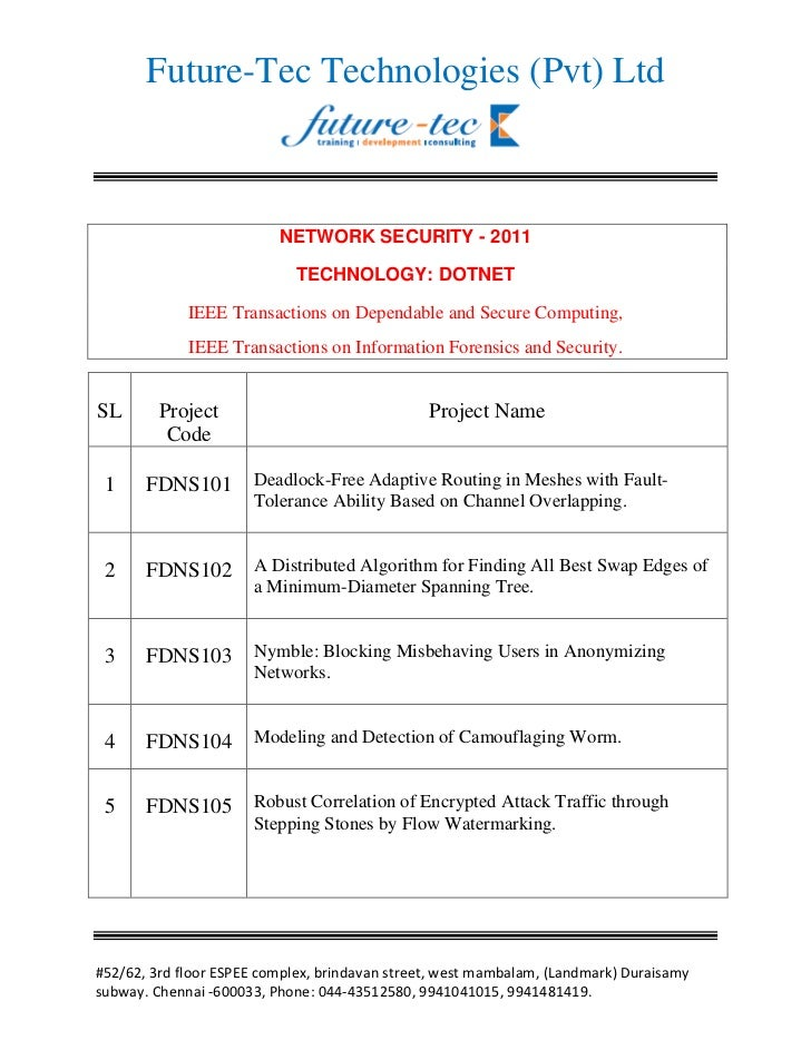 Future-Tec Technologies (Pvt) Ltd                          NETWORK SECURITY - 2011                              TECHNOLOGY...