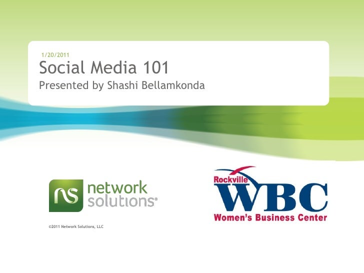 Network Solutions Rockville Womens Business Center  Workshop  February 2011