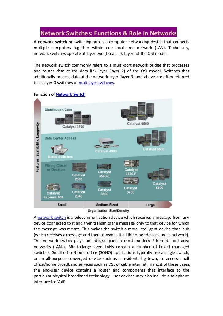Network Switches: Functions & Role in NetworksA network switch or switching hub is a computer networking device that conne...