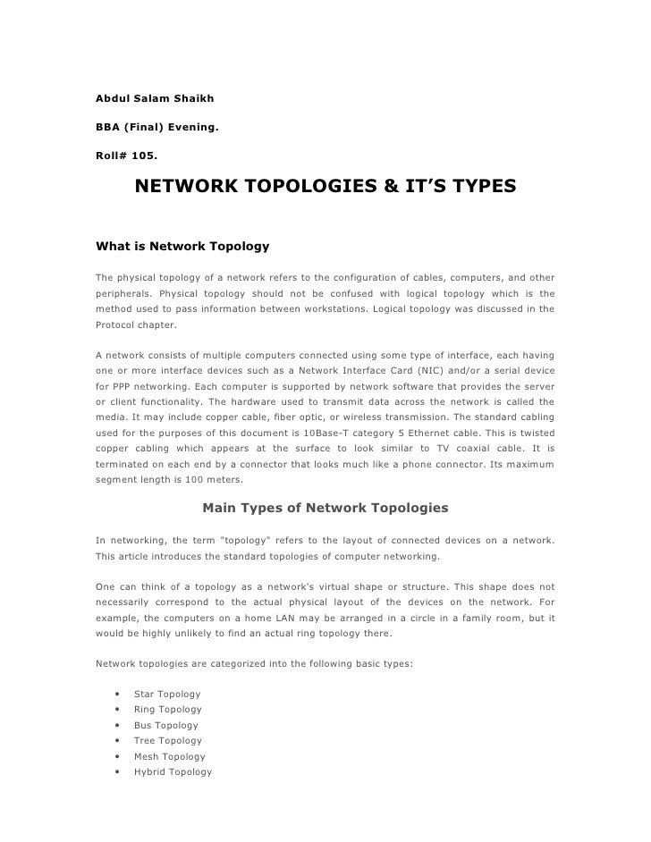 Abdul Salam ShaikhBBA (Final) Evening.Roll# 105.        NETWORK TOPOLOGIES & IT'S TYPESWhat is Network TopologyThe physica...