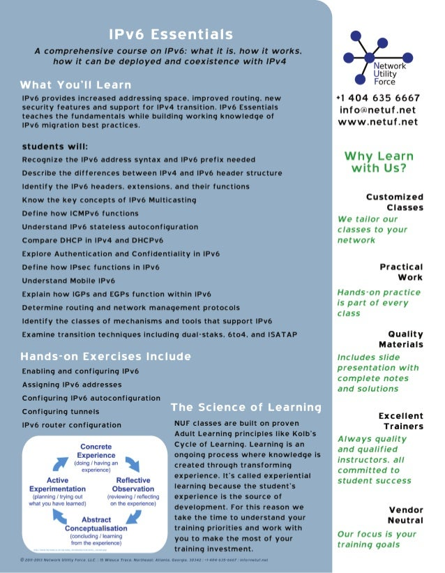 Network Utility Force IPv6 training brochure
