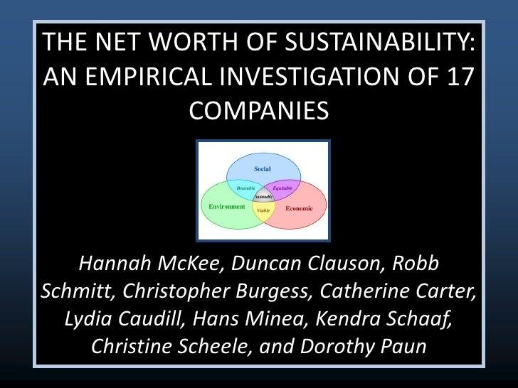 Net worth of sustainability
