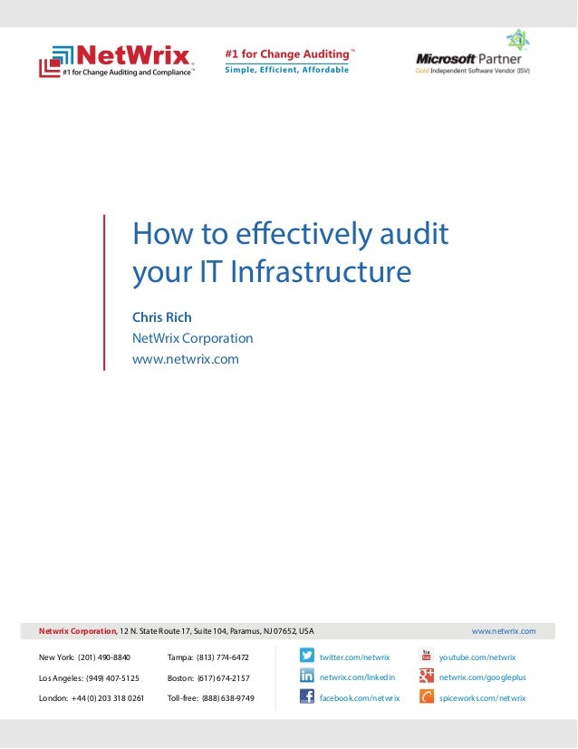 How to effectively audit                           your IT Infrastructure                           Chris Rich            ...