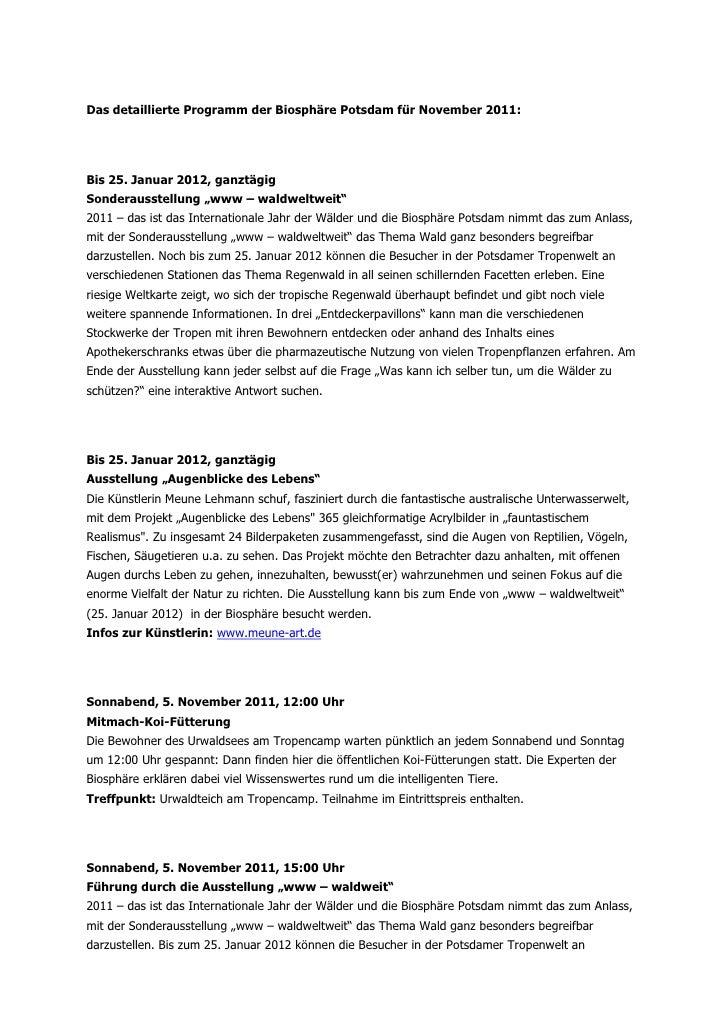 """Das detaillierte Programm der Biosphäre Potsdam für November 2011:Bis 25. Januar 2012, ganztägigSonderausstellung """"www – w..."""