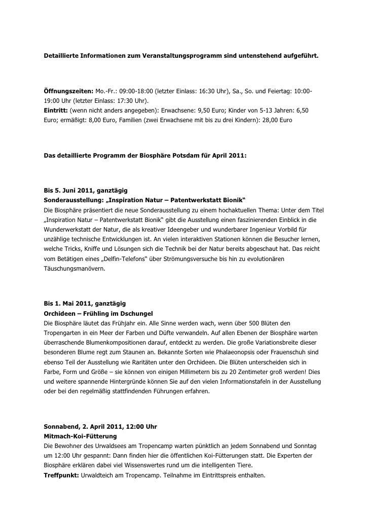 Detaillierte Informationen zum Veranstaltungsprogramm sind untenstehend aufgeführt.Öffnungszeiten: Mo.-Fr.: 09:00-18:00 (l...