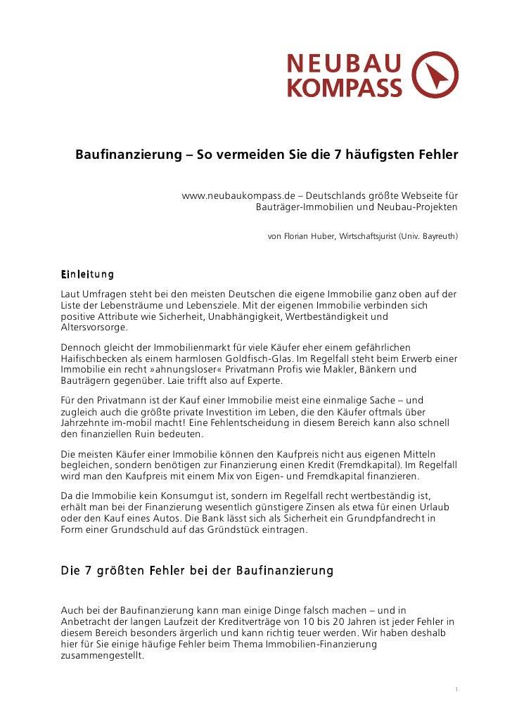 Baufinanzierung – So vermeiden Sie die 7 häufigsten Fehler                           www.neubaukompass.de – Deutschlands g...
