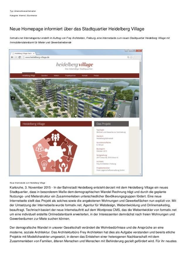 Typ: Unternehmensinformation Kategorie: Internet | Ecommerce Neue Homepage informiert über das Stadtquartier Heidelberg Vi...