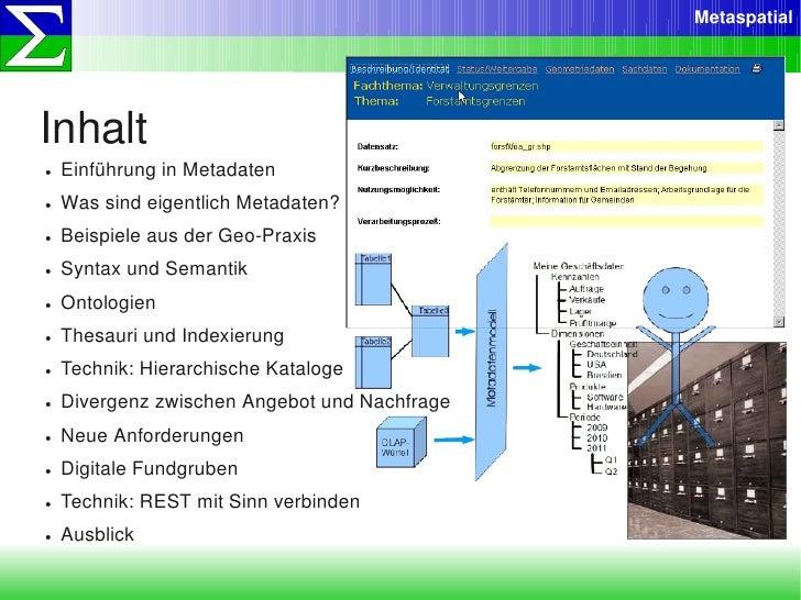 Metaspatial     Inhalt ●   EinführunginMetadaten ●   WassindeigentlichMetadaten? ●   BeispieleausderGeoPraxis ●  ...