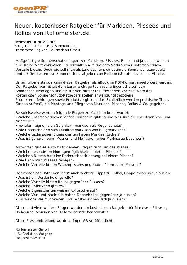 Kostenloser Ratgeber fuer Markisen, Plissees und Rollos von rollomeister.de