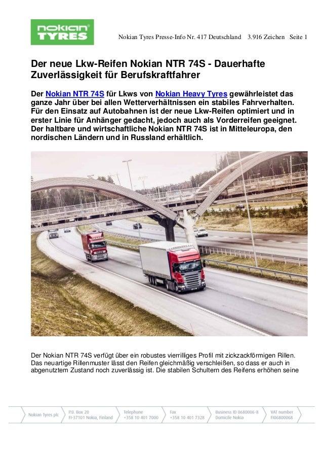 Nokian Tyres Presse-Info Nr. 417 Deutschland 3.916 Zeichen Seite 1 Der neue Lkw-Reifen Nokian NTR 74S - Dauerhafte Zuverlä...