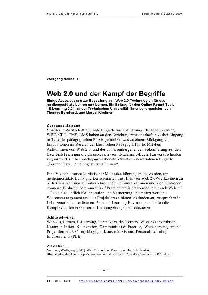 Web 2.0 und der Kampf der Begriffe                      Blog Mediendidaktik|2007 _________________________________________...