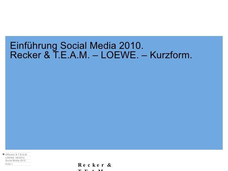 Einführung Social Media 2010. Recker & T.E.A.M. – LOEWE. – Kurzform.