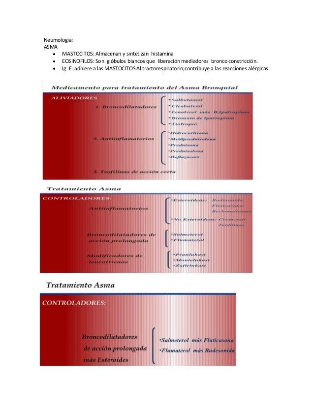 Neumologia: ASMA MASTOCITOS: Almacenan y sintetizan histamina EOSINOFILOS: Son glóbulos blancos que liberación mediadores ...