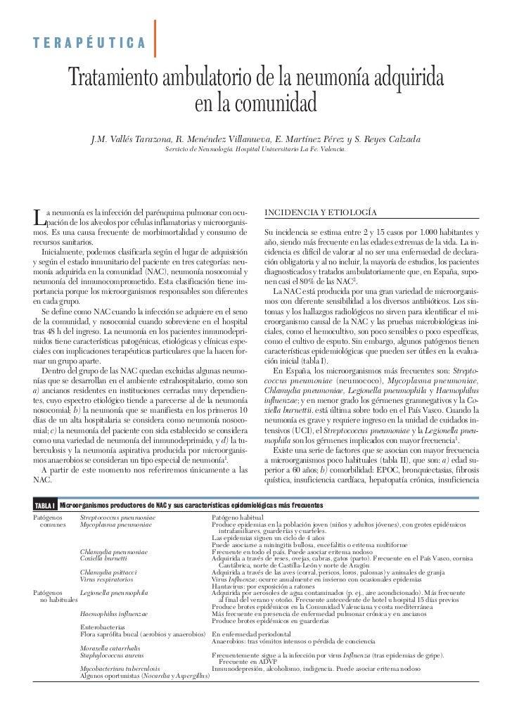 TERAPÉUTICA            Tratamiento ambulatorio de la neumonía adquirida                           en la comunidad         ...