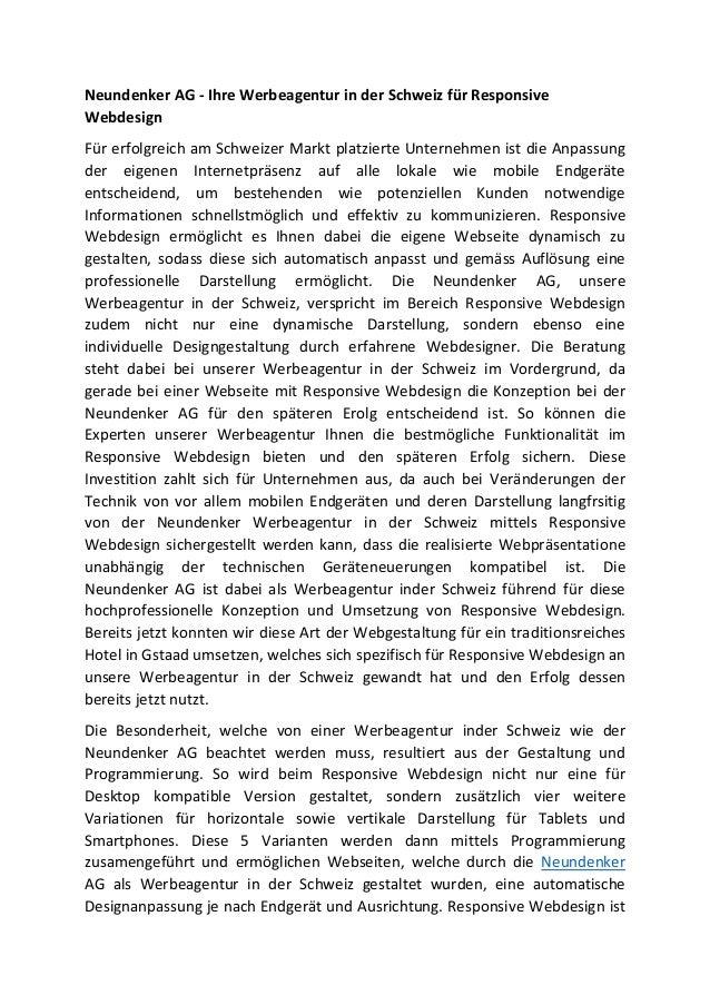 Neundenker AG - Ihre Werbeagentur in der Schweiz für Responsive Webdesign Für erfolgreich am Schweizer Markt platzierte Un...