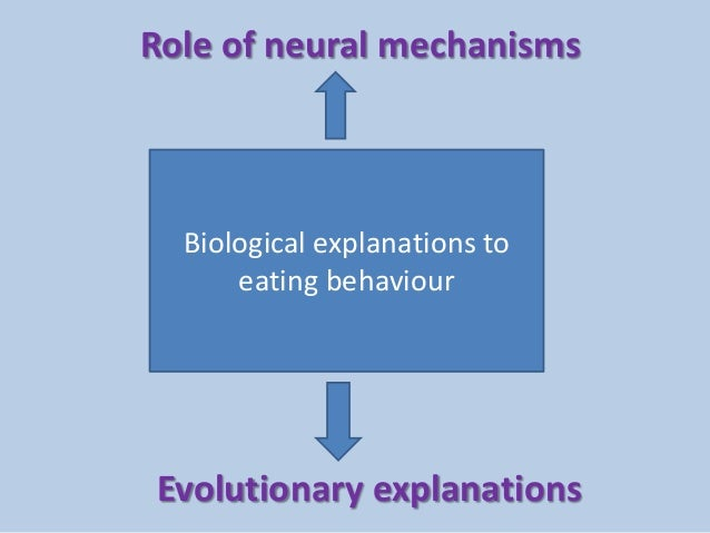 Biological explanations to eating behaviour Role of neural mechanisms Evolutionary explanations
