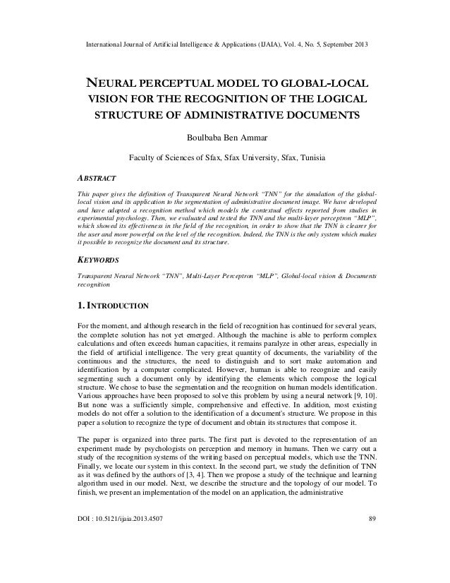 Neural perceptual model to global local vision for the recognition of the logical structure of administrative documents