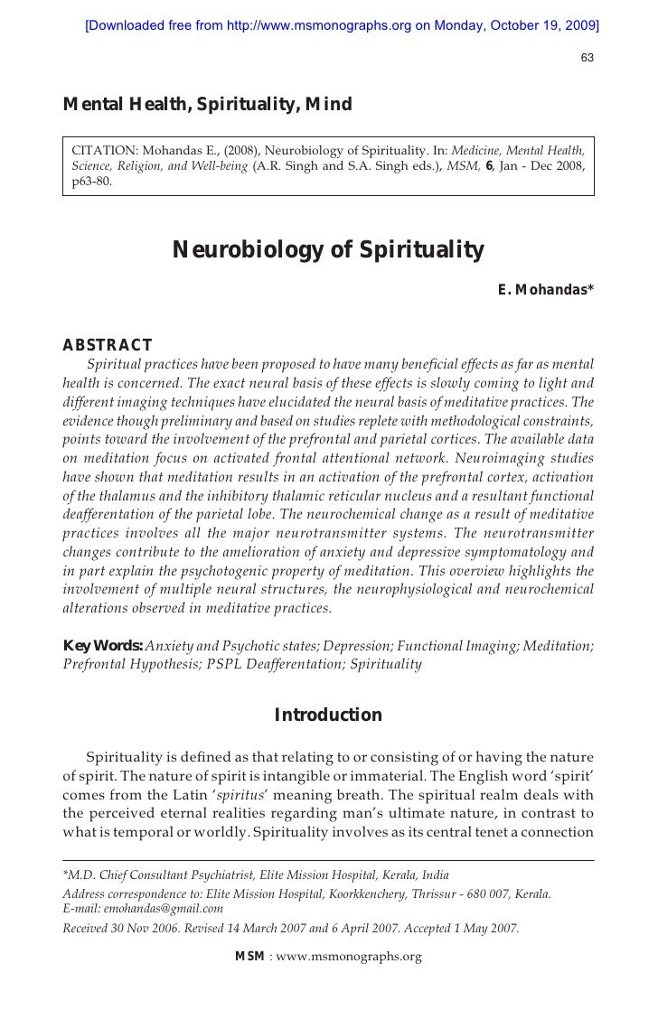 Neurobiology of spirituality (mohandas 2008)