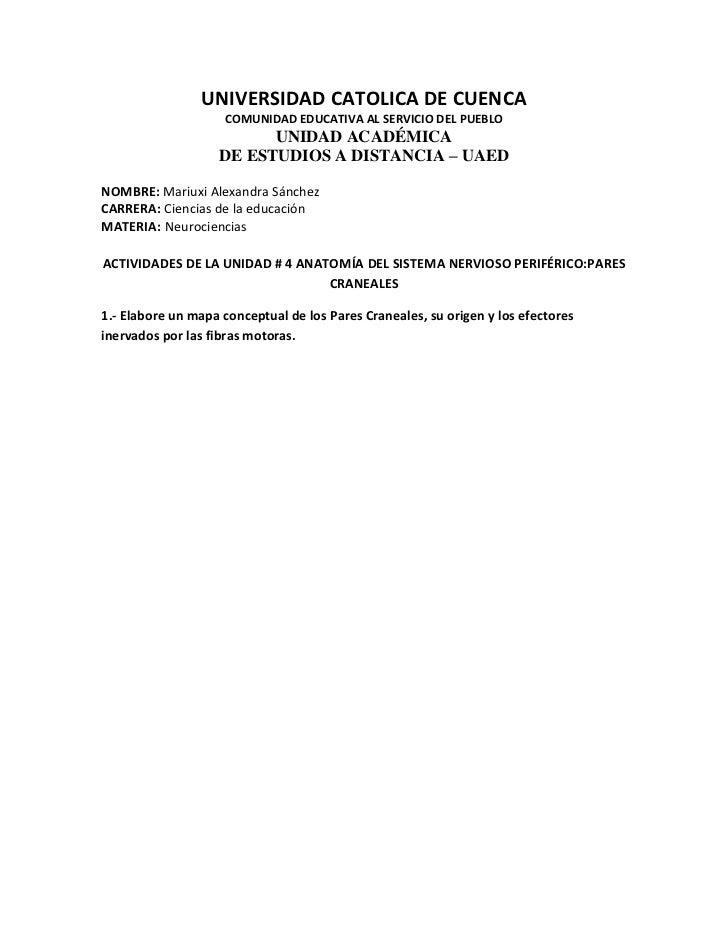 UNIVERSIDAD CATOLICA DE CUENCA                    COMUNIDAD EDUCATIVA AL SERVICIO DEL PUEBLO                          UNID...
