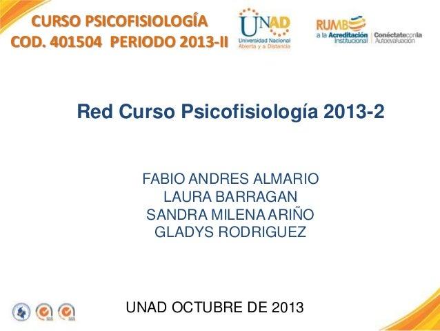 CURSO PSICOFISIOLOGÍA COD. 401504 PERIODO 2013-II  Red Curso Psicofisiología 2013-2  FABIO ANDRES ALMARIO LAURA BARRAGAN S...