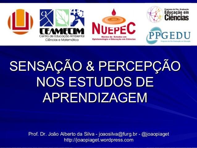 SENSAÇÃO & PERCEPÇÃOSENSAÇÃO & PERCEPÇÃO NOS ESTUDOS DENOS ESTUDOS DE APRENDIZAGEMAPRENDIZAGEM Prof. Dr. João Alberto da S...