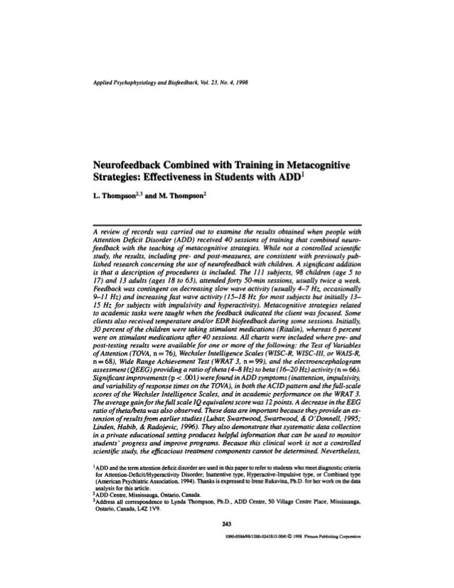 Applied Psychophysiology and Biofeedback, Vol. 23, No. 4,1998 Neurofeedback Combined with Training in Metacognitive Strate...