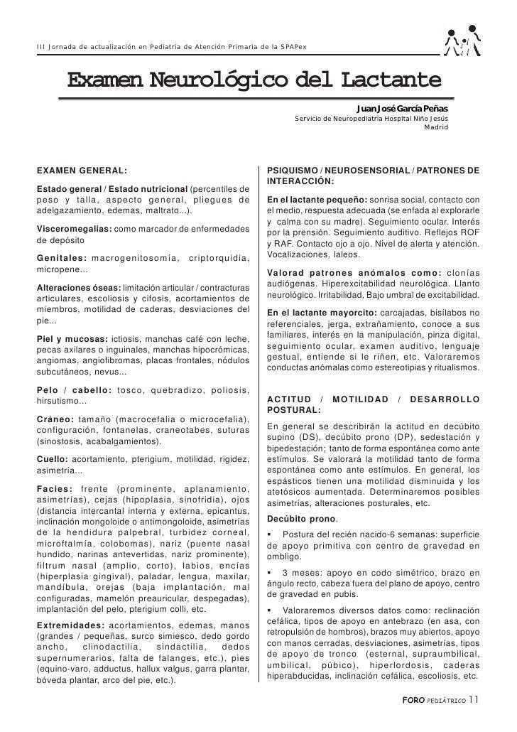 III Jornada de actualización en Pediatría de Atención Primaria de la SPAPex             Examen Neurológico del Lactante   ...