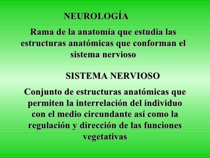 NEUROLOGÍA Rama de la anatomía que estudia las estructuras anatómicas que conforman el sistema nervioso SISTEMA NERVIOSO C...