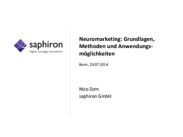 Neuromarketing: Grundlagen, Methoden und Anwendungs- möglichkeiten Bonn, 29.07.2014 Nico Zorn saphiron GmbH