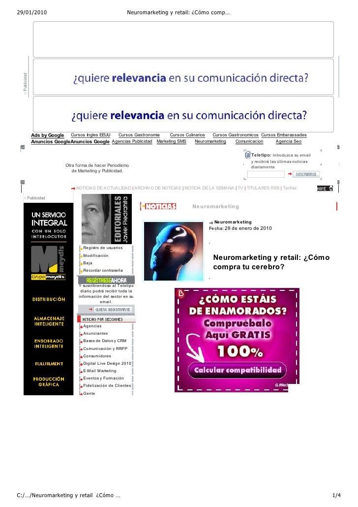 Neuromarketing Y Retail  ¿CóMo Compra Tu Cerebro    Marketing Directo