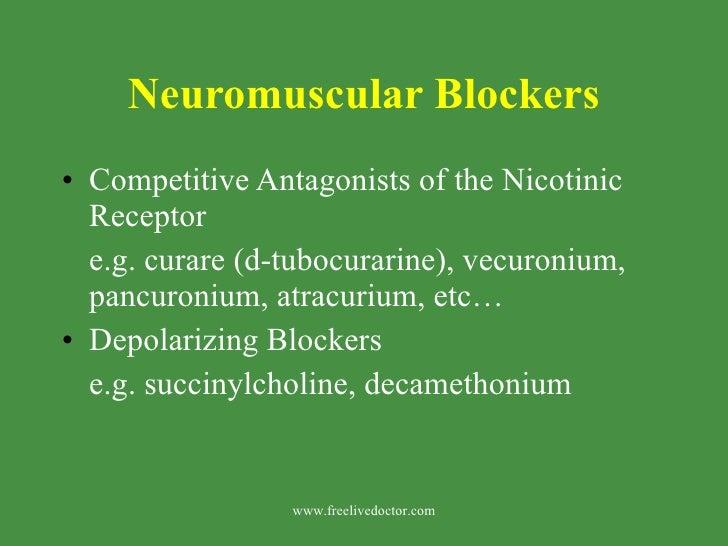 Neuromuscular Blockers <ul><li>Competitive Antagonists of the Nicotinic Receptor </li></ul><ul><li>e.g. curare (d-tubocura...