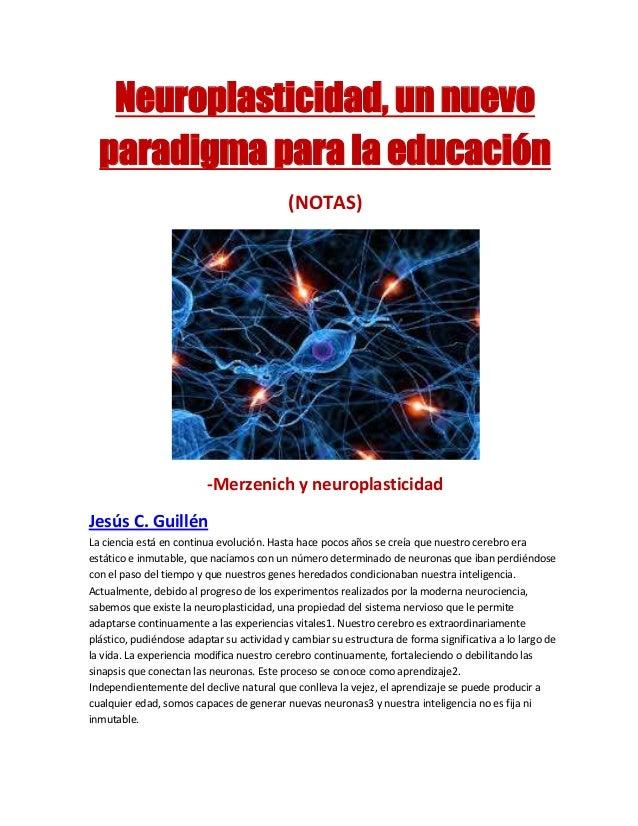 Neuroplasticidad, un nuevo paradigma para la educación (NOTAS) -Merzenich y neuroplasticidad Jesús C. Guillén La ciencia e...