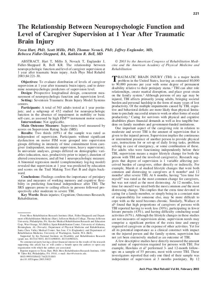 221The Relationship Between Neuropsychologic Function andLevel of Caregiver Supervision at 1 Year After TraumaticBrain Inj...
