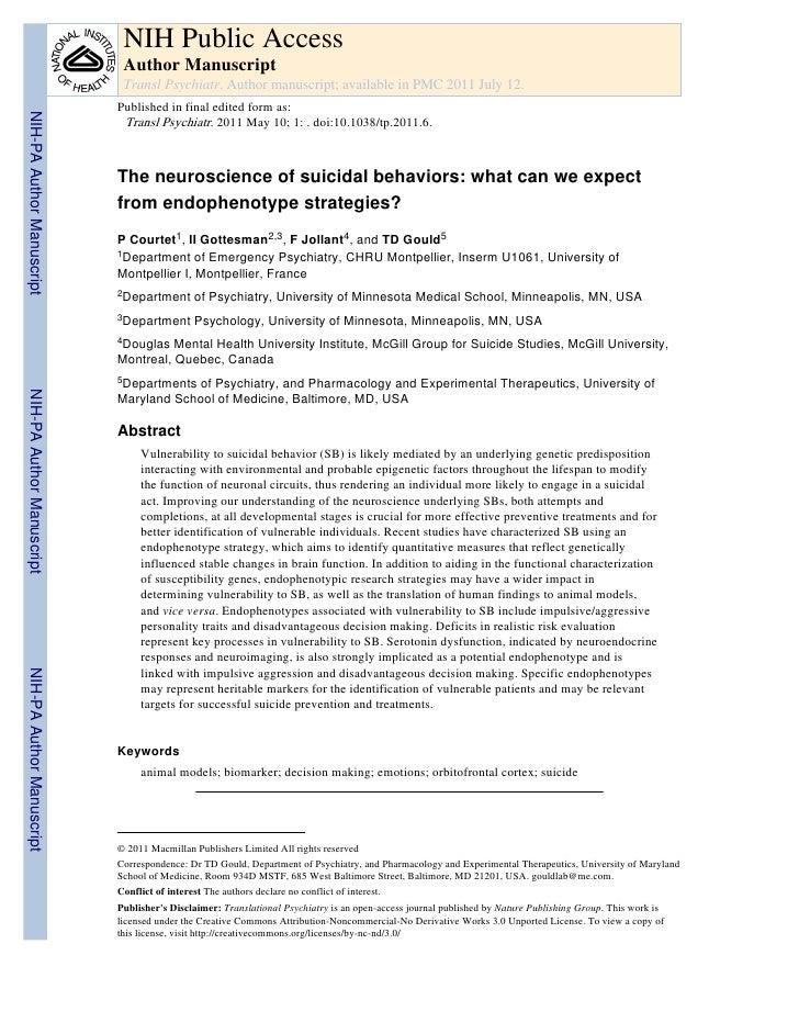 Neuroscienza dei comportamenti suicidari