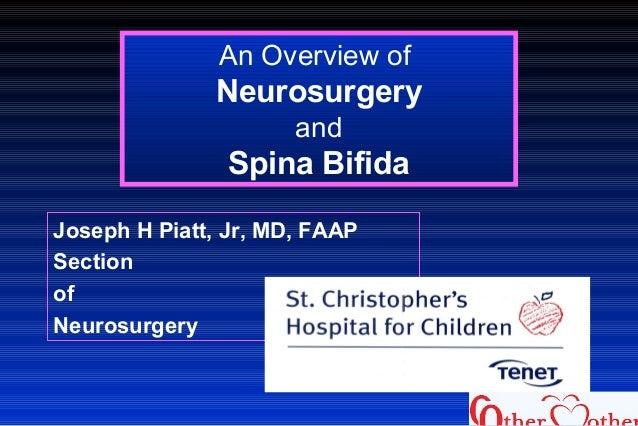 An Overview of Neurosurgery and Spina Bifida Joseph H Piatt, Jr, MD, FAAP Section of Neurosurgery