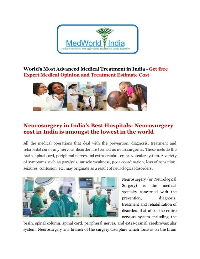 World's Most Advanced Medical Treatment in India - Get free Expert Medical Opinion and Treatment Estimate Cost Neurosurger...