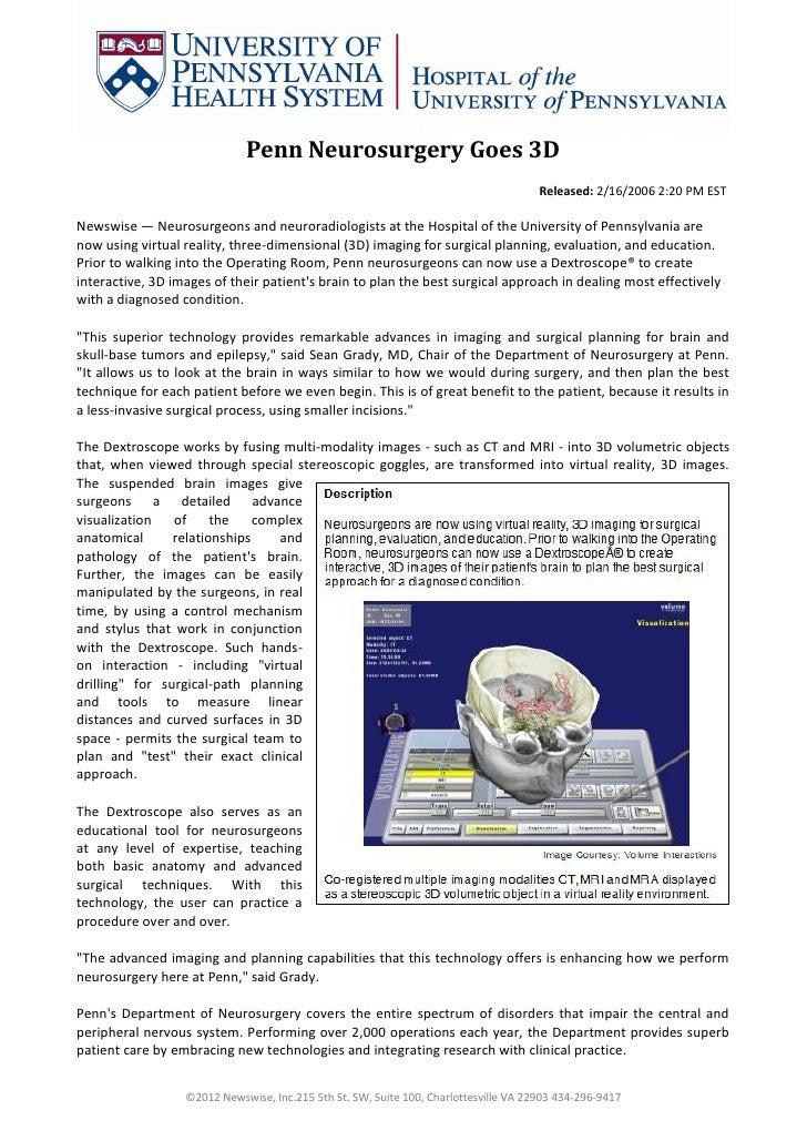 Penn Neurosurgery Goes 3D                                                                                      Released: 2...