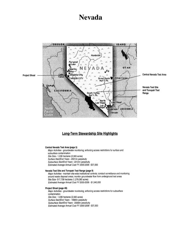 Project Shoal Nevada Long-Term Stewardship Site Highlights Central Nevada Test Area (page 3) Major Activities- groundwater...
