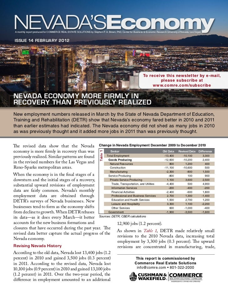 Nevada's Economy - February 2012