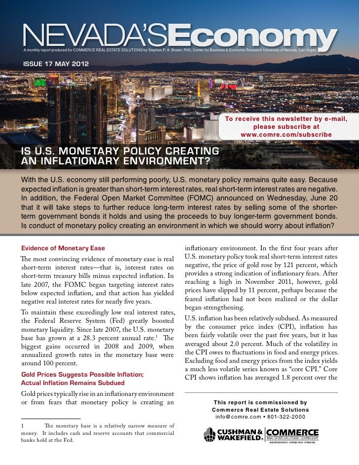 A monthly report produced for Commerce Real Estate Solutions by Stephen P. A. Brown, PhD, Center for Business & Economic R...