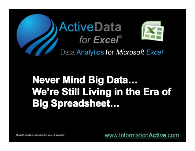 Data Analytics for Microsoft ExcelMicrosoft Excel is a trademark of Microsoft Corporation                                 ...