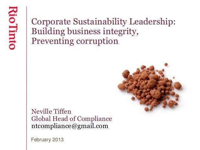 Neville Tiffen - Rio Tinto - UNAA Business Integrity Seminar 27.02.13