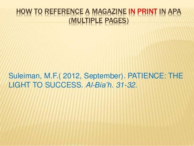 Apa magazine reference
