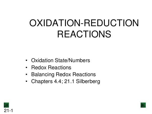 OXIDATION-REDUCTION REACTIONS • • • •  21-1  Oxidation State/Numbers Redox Reactions Balancing Redox Reactions Chapters 4....