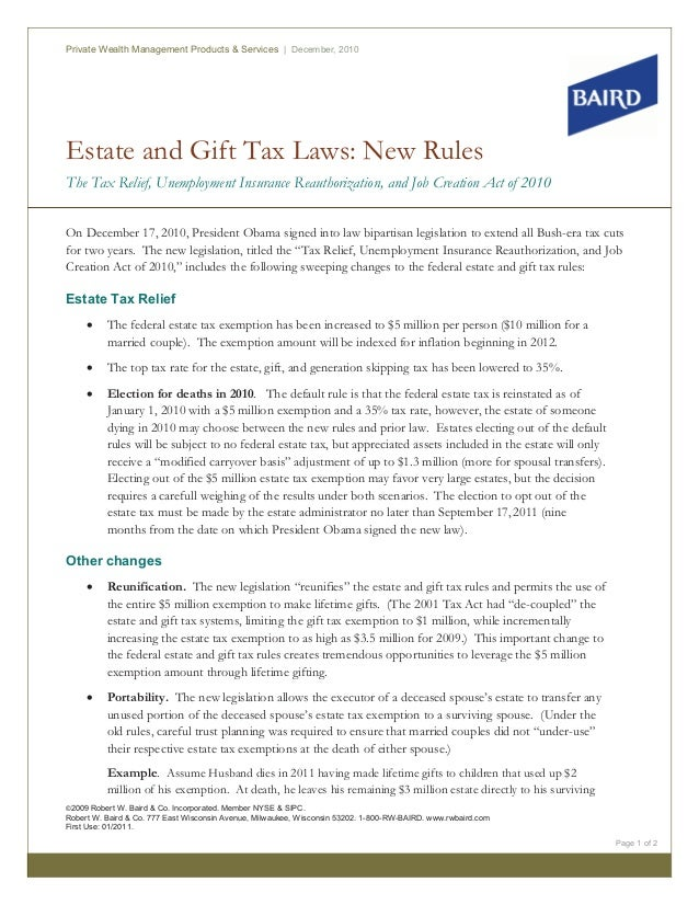 Estate and Gift Tax Laws: New Rules The Tax Relief, Unemployment Insurance Reauthorization, and Job Creation Act of 2010 P...