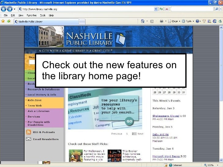 Check out the new features on the library home page!