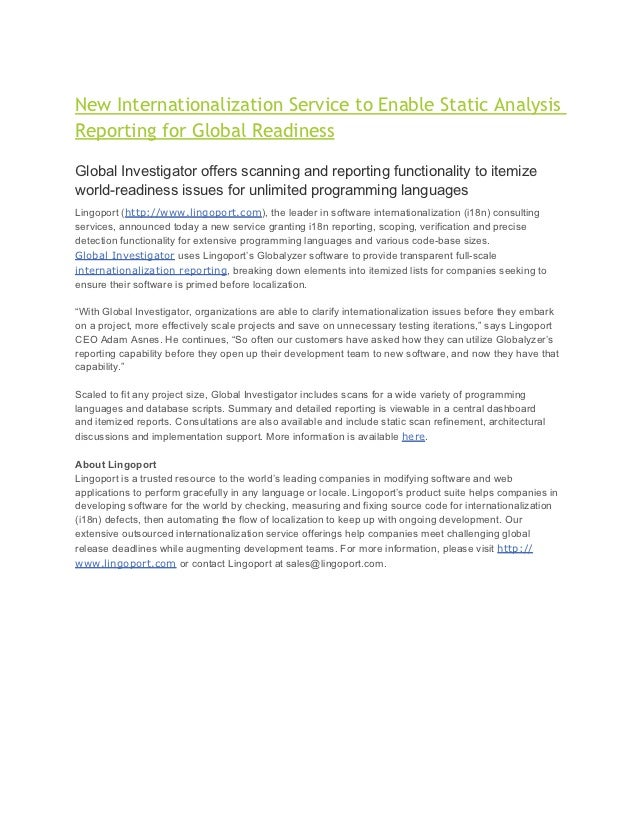 New Internationalization Service to Enable Static Analysis Reporting for Global Readiness