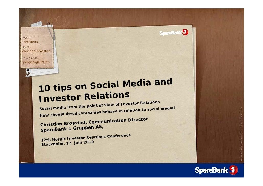 chrisbros  christian.brosstad   pengeroglivet.no                 10 tips on S ocial Media and                             ...