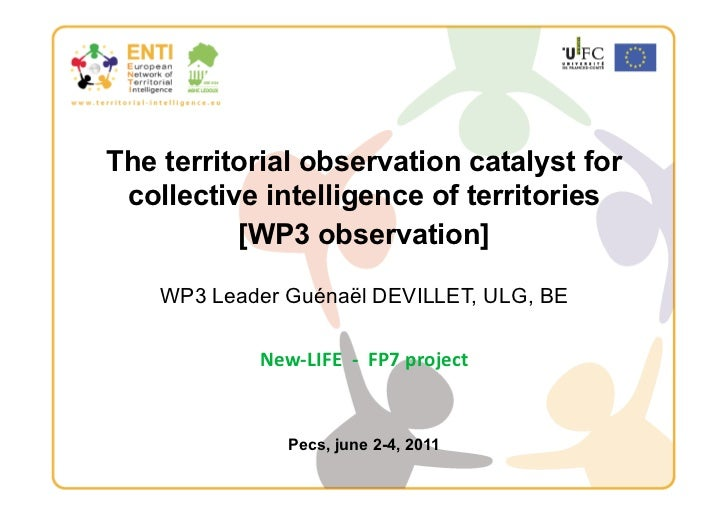 The territorial observation catalyst for collective intelligence of territories          [WP3 observation]     WP3 Leader ...