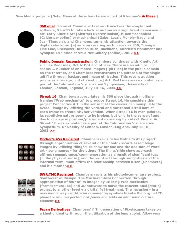11/20/10 5:38 PMNew Media projects Page 1 of 3http://www.tomrchambers.com/nmpjs.html New Media projects [Note: Many of the...